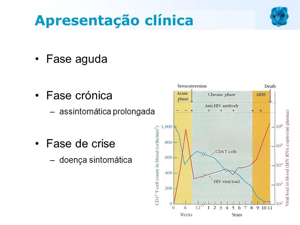 Fase aguda Fase crónica –assintomática prolongada Fase de crise –doença sintomática Apresentação clínica