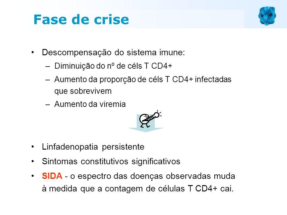 Descompensação do sistema imune: –Diminuição do nº de céls T CD4+ –Aumento da proporção de céls T CD4+ infectadas que sobrevivem –Aumento da viremia L