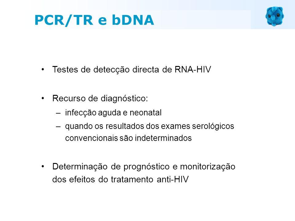 Testes de detecção directa de RNA-HIV Recurso de diagnóstico: –infecção aguda e neonatal –quando os resultados dos exames serológicos convencionais sã