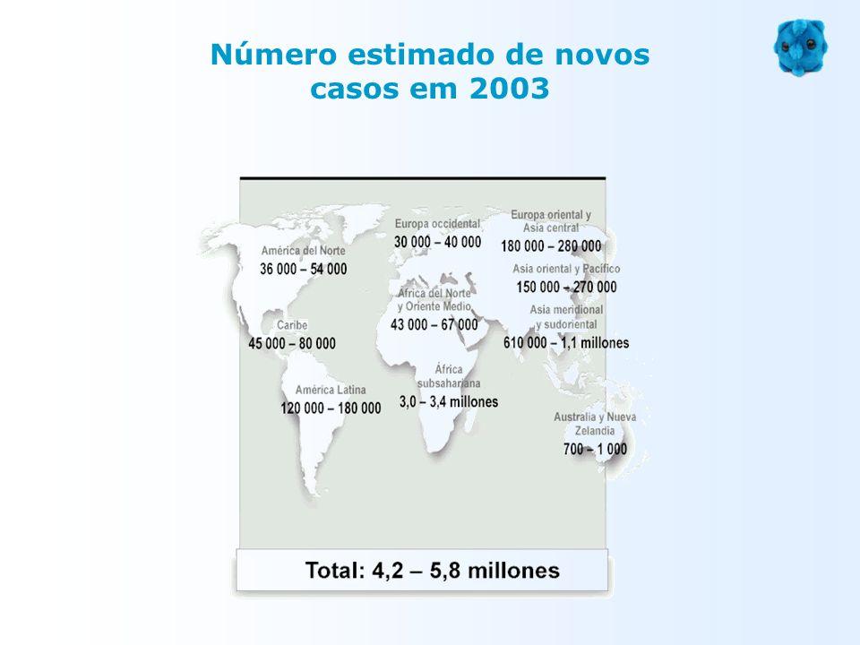 Número estimado de novos casos em 2003