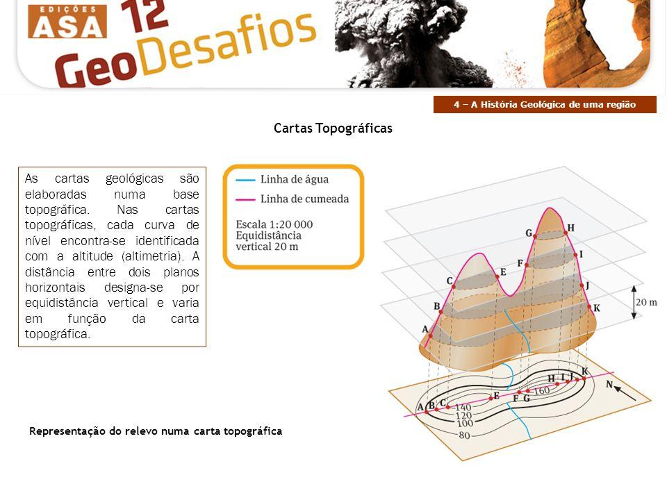 As cartas geológicas são elaboradas numa base topográfica. Nas cartas topográficas, cada curva de nível encontra-se identificada com a altitude (altim