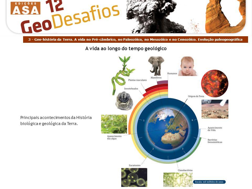 3 - Geo-história da Terra. A vida no Pré-câmbrico, no Paleozóico, no Mesozóico e no Cenozóico. Evolução paleogeográfica Principais acontecimentos da H