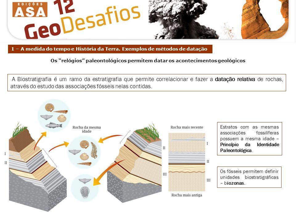 Estratos com as mesmas associações fossilíferas possuem a mesma idade – Princípio da Identidade Paleontológica. Os fósseis permitem definir unidades b