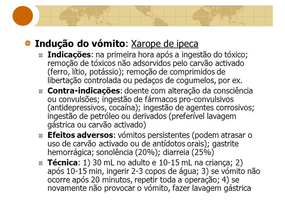 Indução do vómito: Xarope de ipeca Indicações: na primeira hora após a ingestão do tóxico; remoção de tóxicos não adsorvidos pelo carvão activado (fer