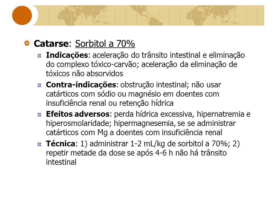 Catarse: Sorbitol a 70% Indicações: aceleração do trânsito intestinal e eliminação do complexo tóxico-carvão; aceleração da eliminação de tóxicos não