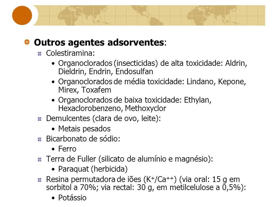 Outros agentes adsorventes: Colestiramina: Organoclorados (insecticidas) de alta toxicidade: Aldrin, Dieldrin, Endrin, Endosulfan Organoclorados de mé