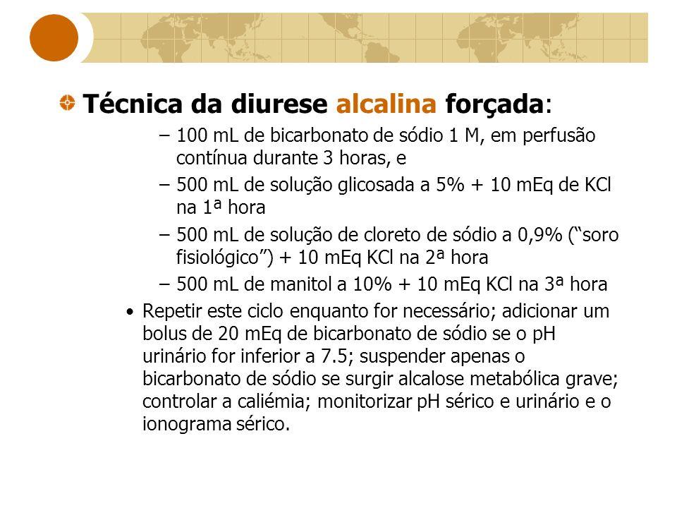 Técnica da diurese alcalina forçada: –100 mL de bicarbonato de sódio 1 M, em perfusão contínua durante 3 horas, e –500 mL de solução glicosada a 5% +