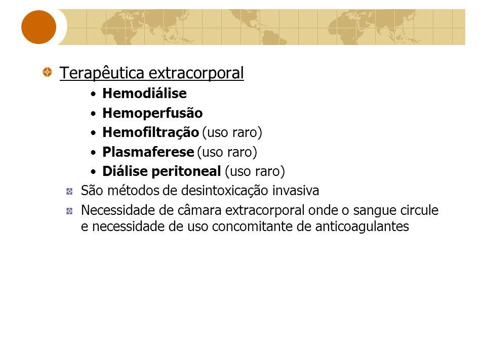 Terapêutica extracorporal Hemodiálise Hemoperfusão Hemofiltração (uso raro) Plasmaferese (uso raro) Diálise peritoneal (uso raro) São métodos de desin