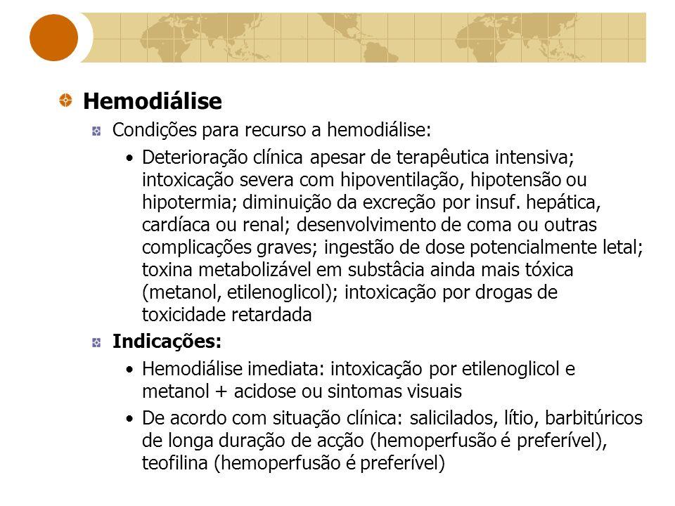 Hemodiálise Condições para recurso a hemodiálise: Deterioração clínica apesar de terapêutica intensiva; intoxicação severa com hipoventilação, hipoten