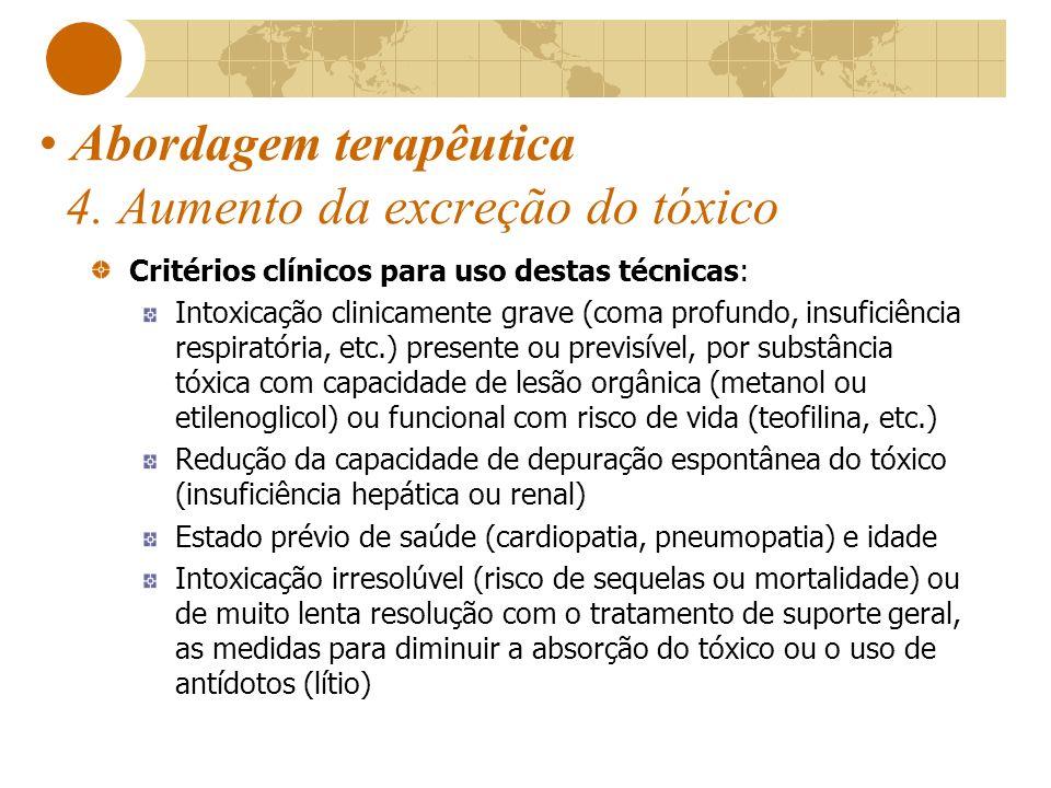 Abordagem terapêutica 4. Aumento da excreção do tóxico Critérios clínicos para uso destas técnicas: Intoxicação clinicamente grave (coma profundo, ins