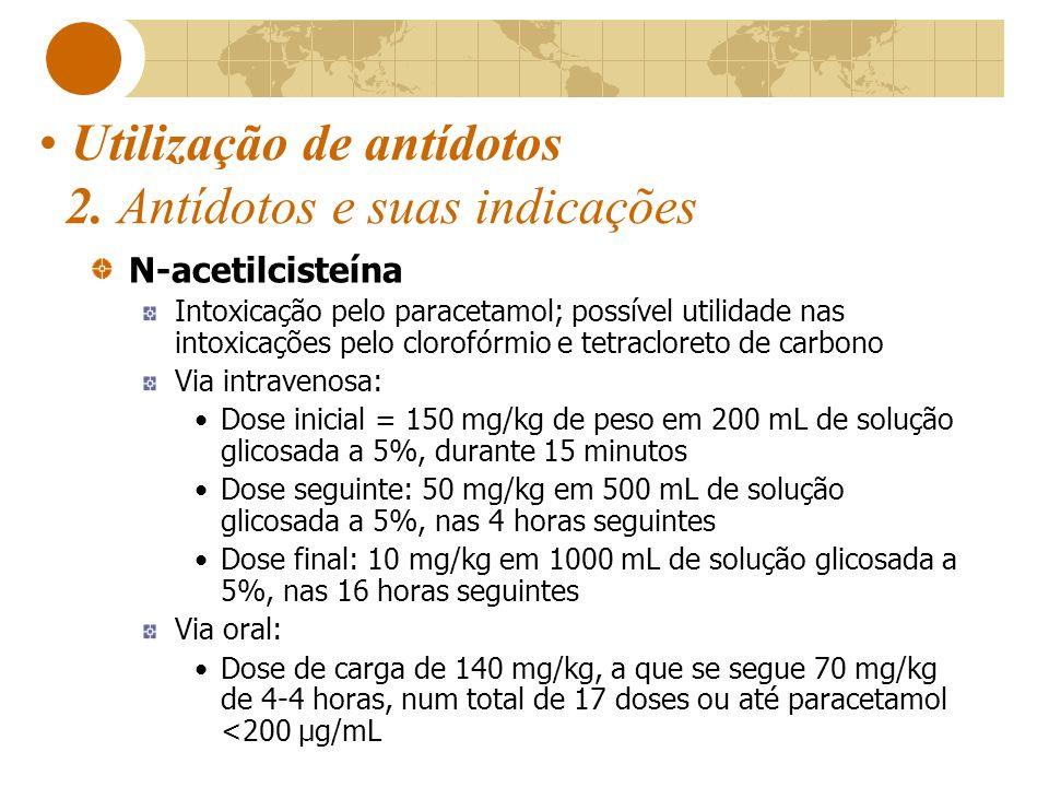 Utilização de antídotos 2. Antídotos e suas indicações N-acetilcisteína Intoxicação pelo paracetamol; possível utilidade nas intoxicações pelo clorofó