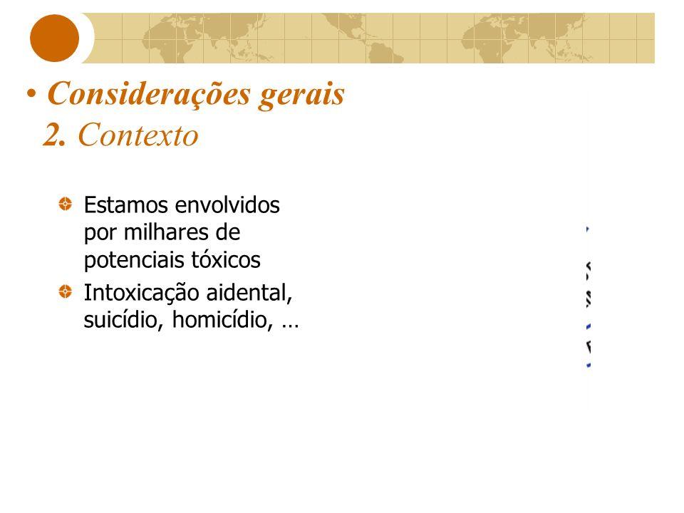 Considerações gerais 2. Contexto Estamos envolvidos por milhares de potenciais tóxicos Intoxicação aidental, suicídio, homicídio, …