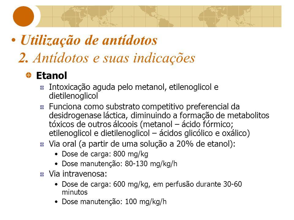 Utilização de antídotos 2. Antídotos e suas indicações Etanol Intoxicação aguda pelo metanol, etilenoglicol e dietilenoglicol Funciona como substrato