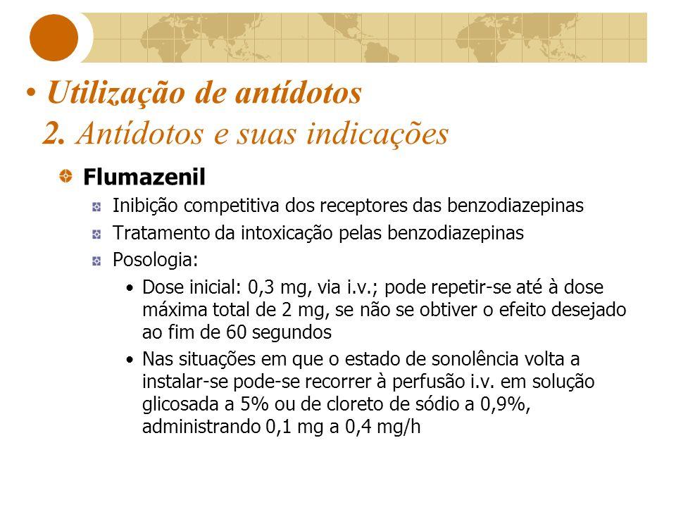 Utilização de antídotos 2. Antídotos e suas indicações Flumazenil Inibição competitiva dos receptores das benzodiazepinas Tratamento da intoxicação pe