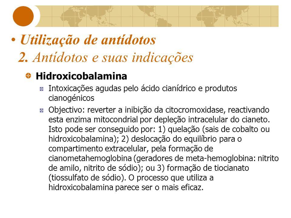 Utilização de antídotos 2. Antídotos e suas indicações Hidroxicobalamina Intoxicações agudas pelo ácido cianídrico e produtos cianogénicos Objectivo: