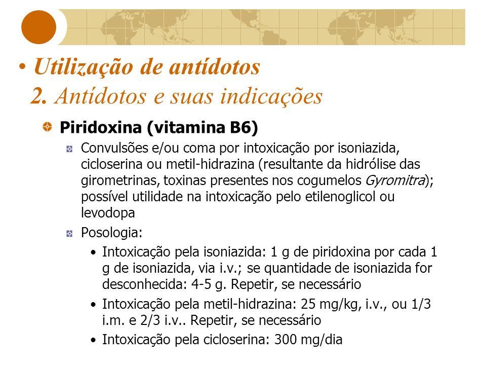 Utilização de antídotos 2. Antídotos e suas indicações Piridoxina (vitamina B6) Convulsões e/ou coma por intoxicação por isoniazida, cicloserina ou me