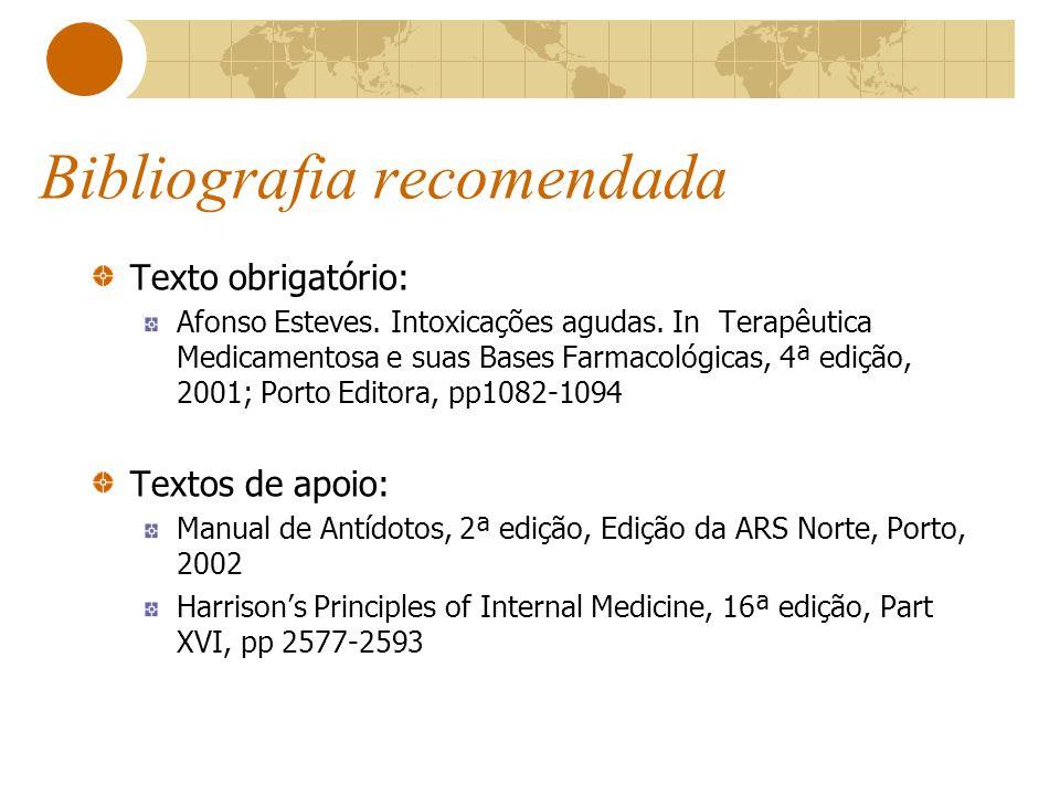 Bibliografia recomendada Texto obrigatório: Afonso Esteves. Intoxicações agudas. In Terapêutica Medicamentosa e suas Bases Farmacológicas, 4ª edição,