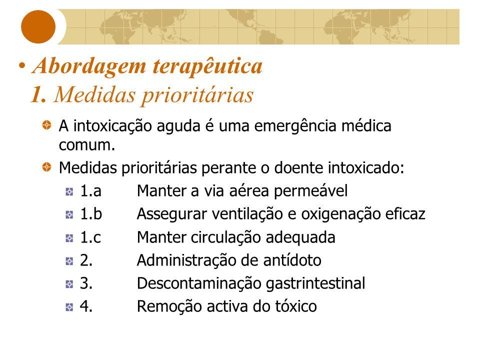 Abordagem terapêutica 1. Medidas prioritárias A intoxicação aguda é uma emergência médica comum. Medidas prioritárias perante o doente intoxicado: 1.a