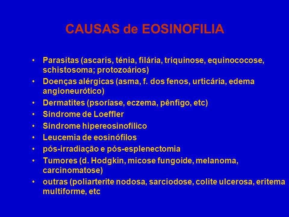CAUSAS de EOSINOFILIA Parasitas (ascaris, ténia, filária, triquinose, equinococose, schistosoma; protozoários) Doenças alérgicas (asma, f. dos fenos,