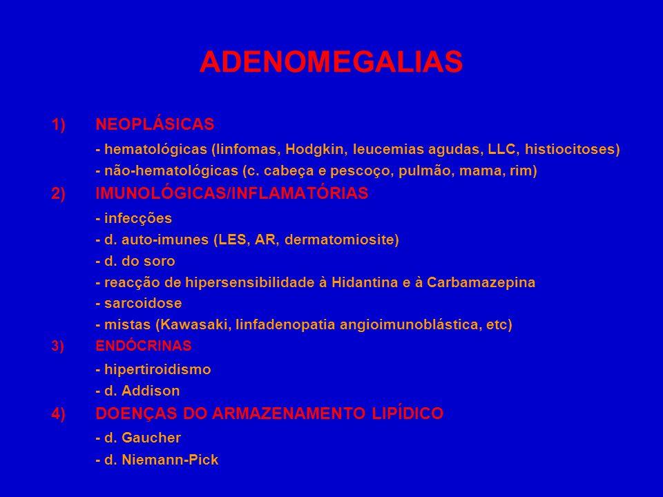 ADENOMEGALIAS 1)NEOPLÁSICAS - hematológicas (linfomas, Hodgkin, leucemias agudas, LLC, histiocitoses) - não-hematológicas (c. cabeça e pescoço, pulmão