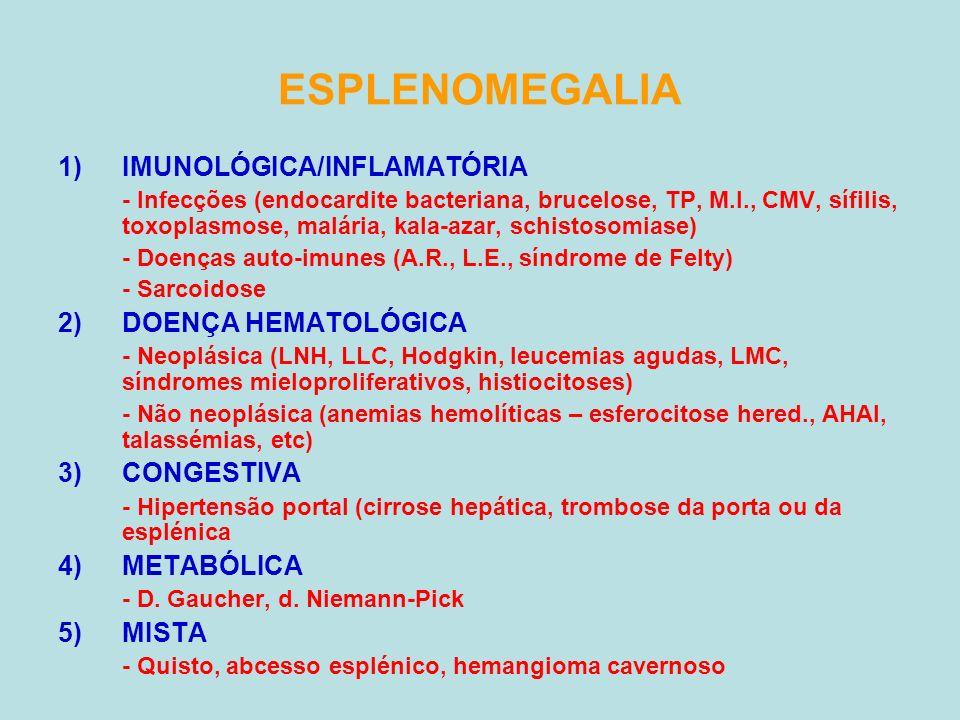 ESPLENOMEGALIA 1)IMUNOLÓGICA/INFLAMATÓRIA - Infecções (endocardite bacteriana, brucelose, TP, M.I., CMV, sífilis, toxoplasmose, malária, kala-azar, sc