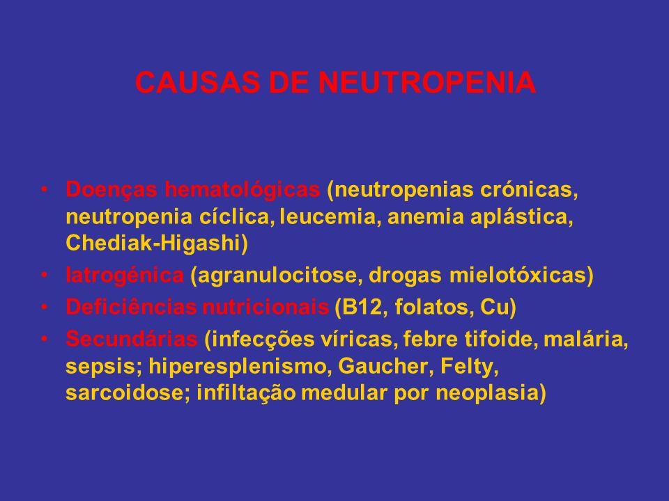 CAUSAS DE NEUTROPENIA Doenças hematológicas (neutropenias crónicas, neutropenia cíclica, leucemia, anemia aplástica, Chediak-Higashi) Iatrogénica (agr