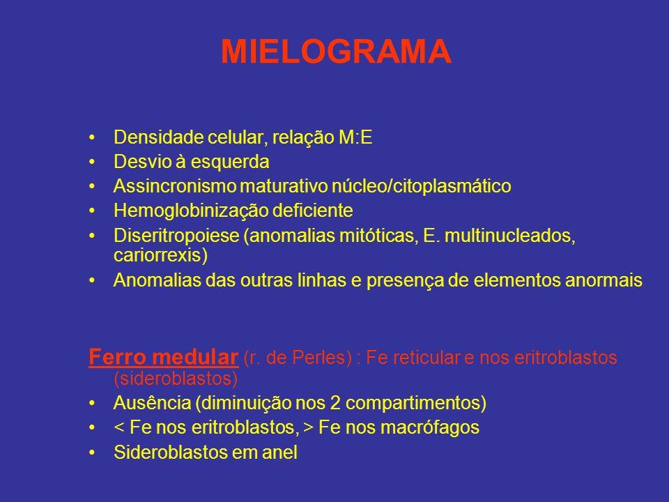 MIELOGRAMA Densidade celular, relação M:E Desvio à esquerda Assincronismo maturativo núcleo/citoplasmático Hemoglobinização deficiente Diseritropoiese