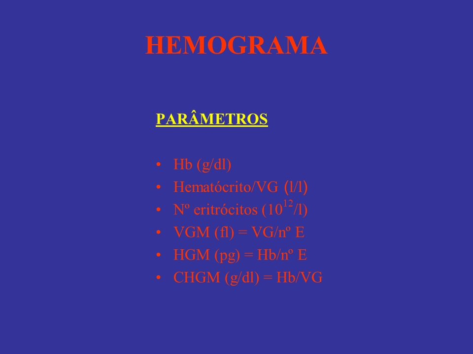 HEMOGRAMA PARÂMETROS Hb (g/dl) Hematócrito/VG ( l/l ) Nº eritrócitos (10 12 /l) VGM (fl) = VG/nº E HGM (pg) = Hb/nº E CHGM (g/dl) = Hb/VG