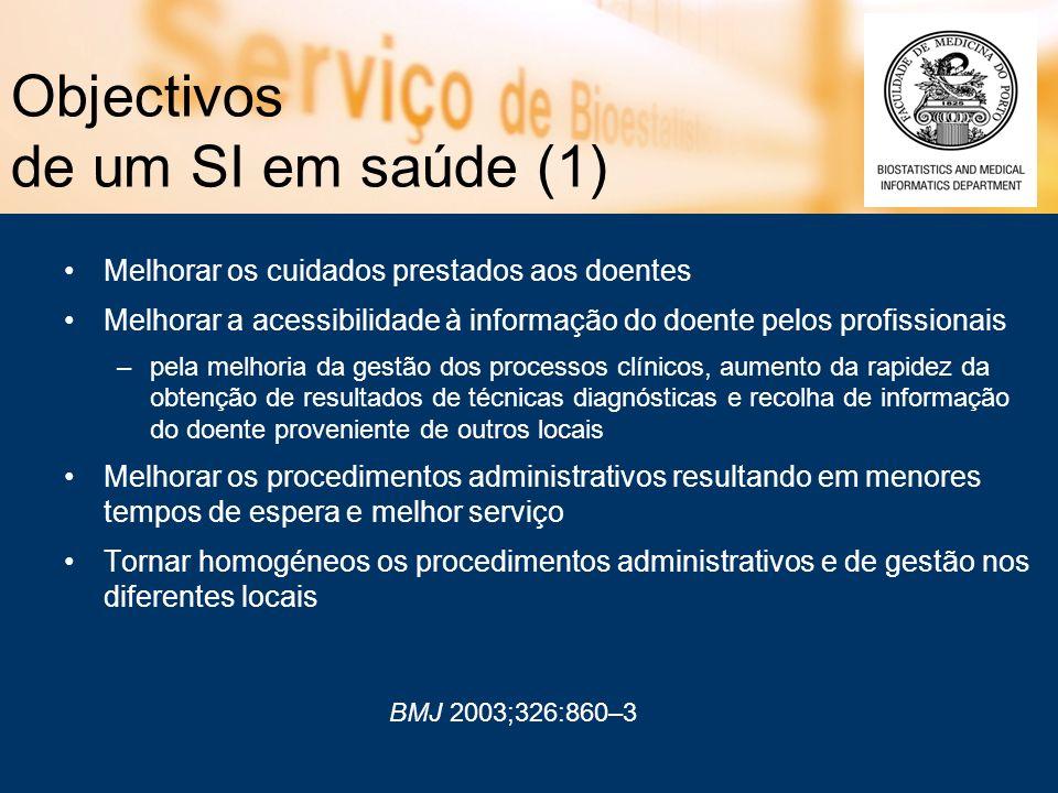 Objectivos de um SI em saúde (1) Melhorar os cuidados prestados aos doentes Melhorar a acessibilidade à informação do doente pelos profissionais –pela