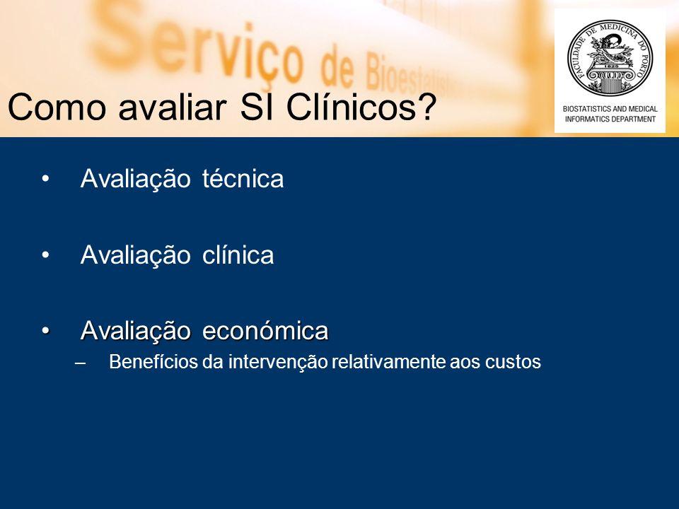 Como avaliar SI Clínicos? Avaliação técnica Avaliação clínica Avaliação económicaAvaliação económica –Benefícios da intervenção relativamente aos cust