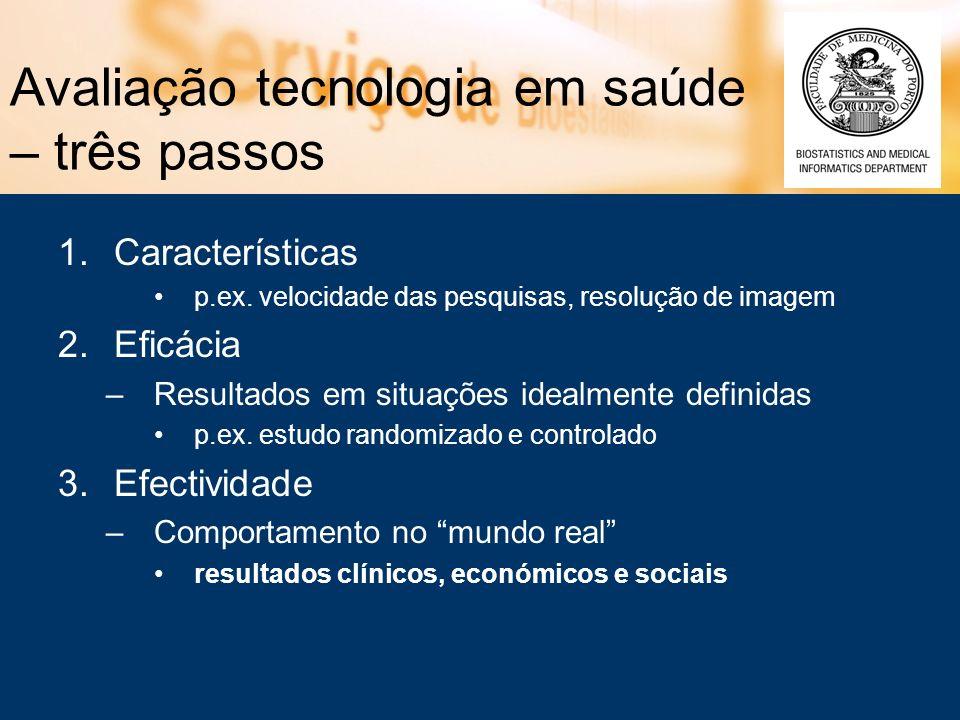 Avaliação tecnologia em saúde – três passos 1.Características p.ex. velocidade das pesquisas, resolução de imagem 2.Eficácia –Resultados em situações