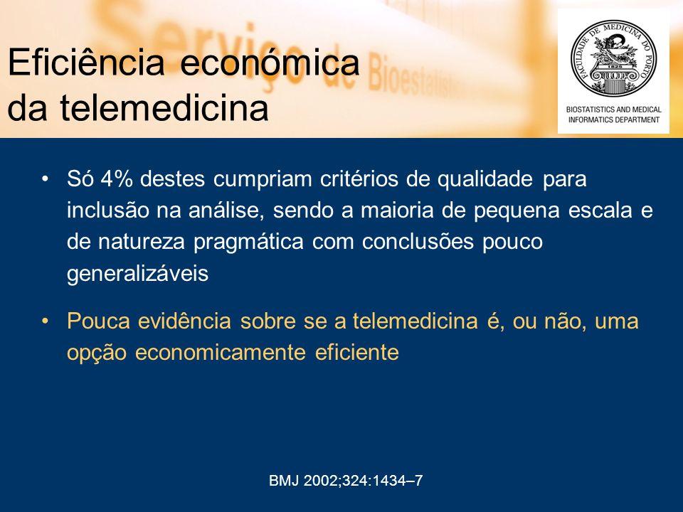 Eficiência económica da telemedicina Só 4% destes cumpriam critérios de qualidade para inclusão na análise, sendo a maioria de pequena escala e de nat