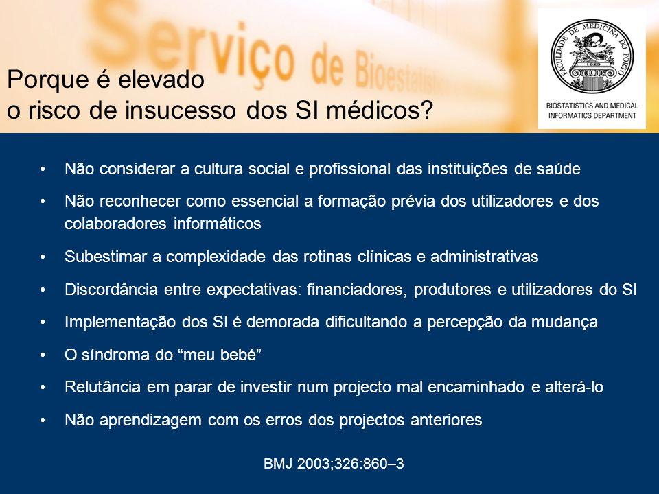 Porque é elevado o risco de insucesso dos SI médicos? Não considerar a cultura social e profissional das instituições de saúde Não reconhecer como ess