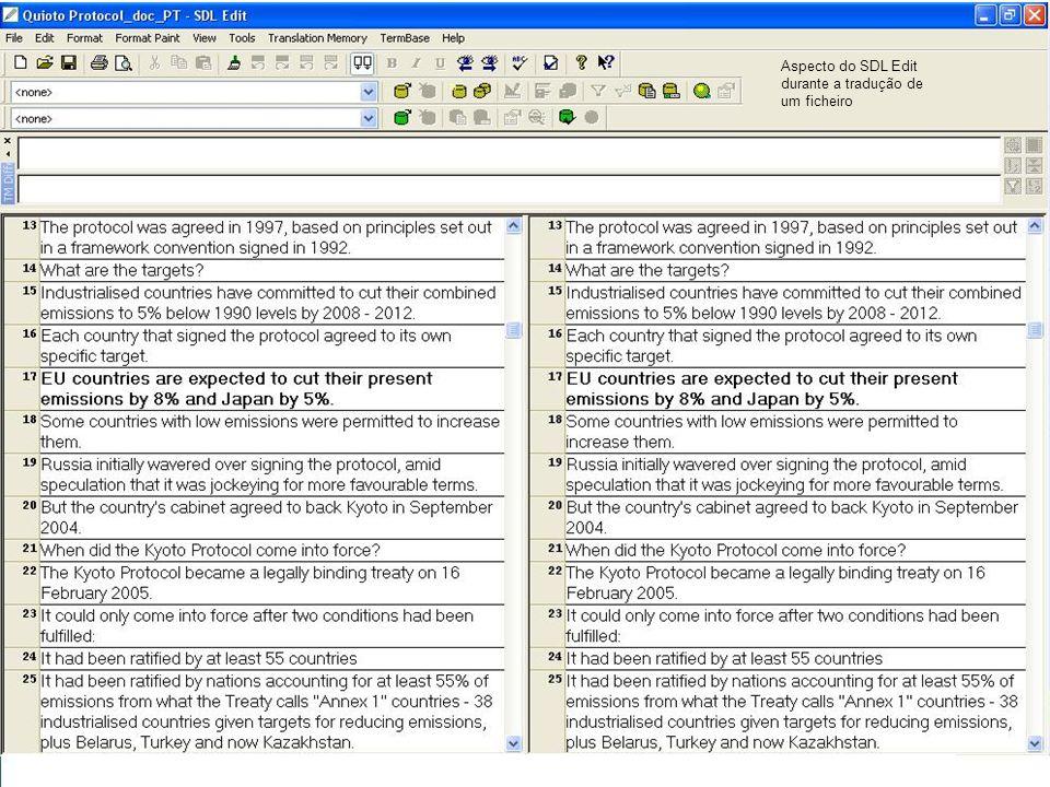 Aspecto do SDL Edit durante a tradução de um ficheiro