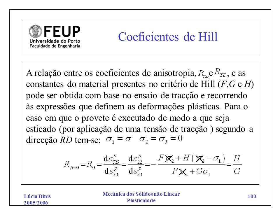 Lúcia Dinis 2005/2006 Mecânica dos Sólidos não Linear Plasticidade 100 Coeficientes de Hill A relação entre os coeficientes de anisotropia, e, e as co
