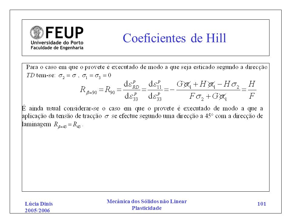 Lúcia Dinis 2005/2006 Mecânica dos Sólidos não Linear Plasticidade 101 Coeficientes de Hill