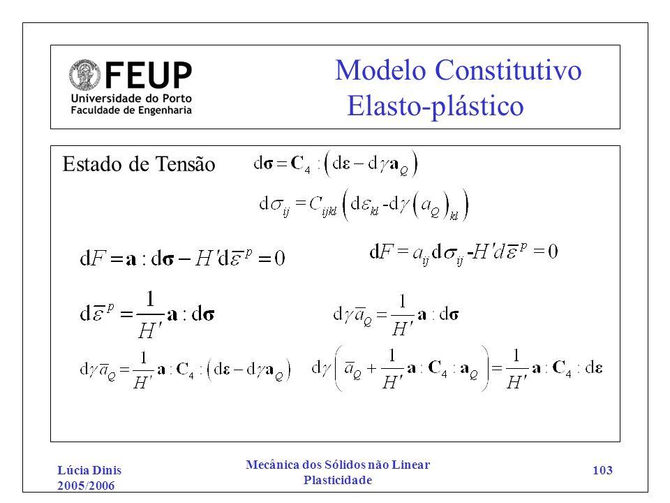 Lúcia Dinis 2005/2006 Mecânica dos Sólidos não Linear Plasticidade 103 Modelo Constitutivo Elasto-plástico Estado de Tensão