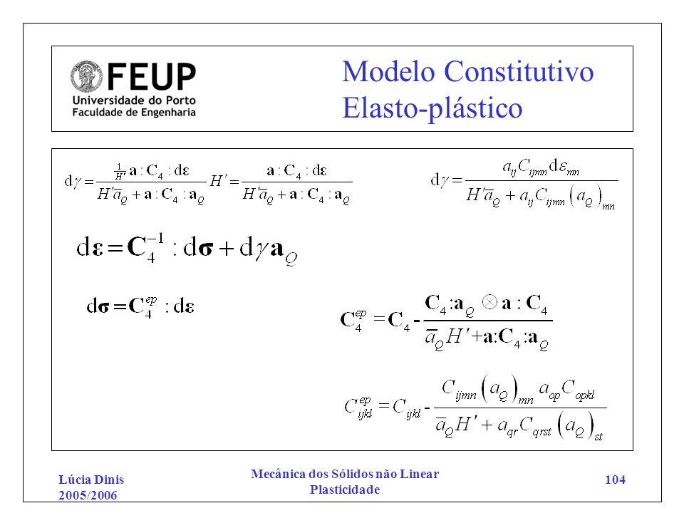Lúcia Dinis 2005/2006 Mecânica dos Sólidos não Linear Plasticidade 104 Modelo Constitutivo Elasto-plástico