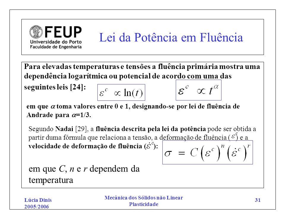 Lúcia Dinis 2005/2006 Mecânica dos Sólidos não Linear Plasticidade 31 Lei da Potência em Fluência Para elevadas temperaturas e tensões a fluência prim