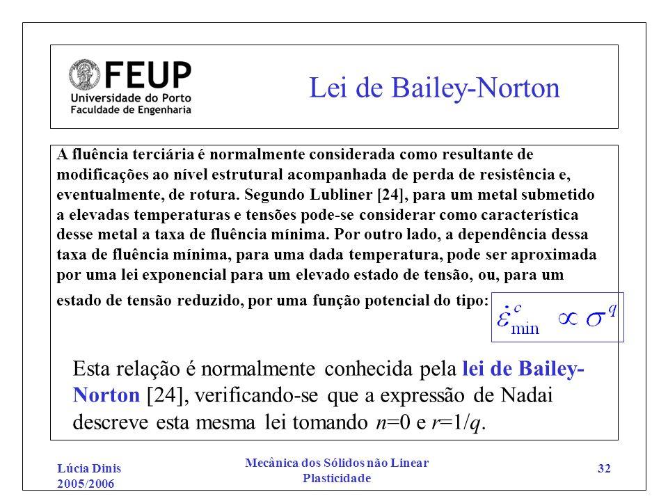 Lúcia Dinis 2005/2006 Mecânica dos Sólidos não Linear Plasticidade 32 Lei de Bailey-Norton A fluência terciária é normalmente considerada como resulta
