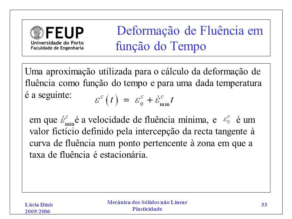 Lúcia Dinis 2005/2006 Mecânica dos Sólidos não Linear Plasticidade 33 Deformação de Fluência em função do Tempo Uma aproximação utilizada para o cálcu