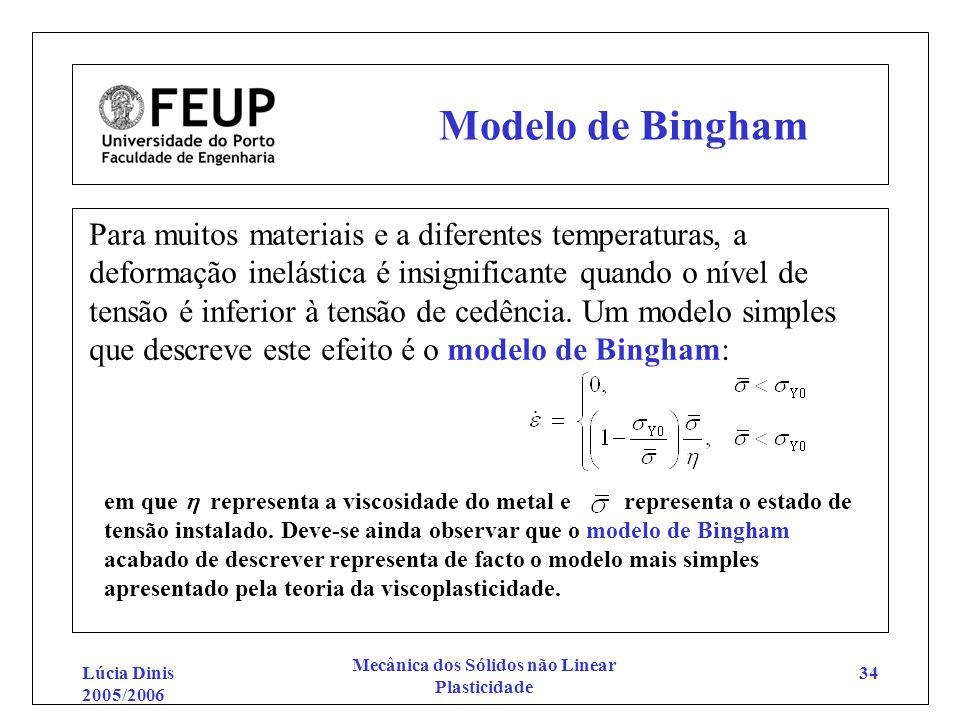 Lúcia Dinis 2005/2006 Mecânica dos Sólidos não Linear Plasticidade 34 Modelo de Bingham Para muitos materiais e a diferentes temperaturas, a deformaçã