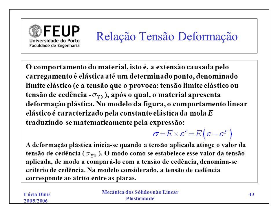 Lúcia Dinis 2005/2006 Mecânica dos Sólidos não Linear Plasticidade 43 Relação Tensão Deformação O comportamento do material, isto é, a extensão causad