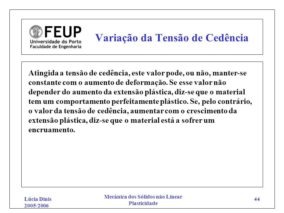 Lúcia Dinis 2005/2006 Mecânica dos Sólidos não Linear Plasticidade 44 Variação da Tensão de Cedência Atingida a tensão de cedência, este valor pode, o