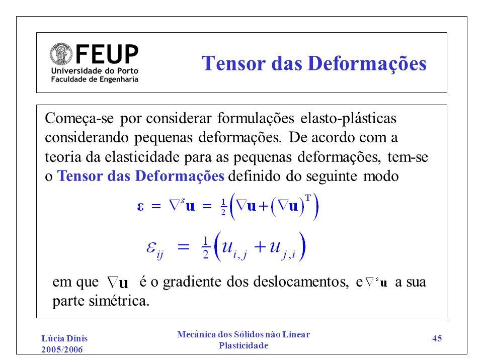 Lúcia Dinis 2005/2006 Mecânica dos Sólidos não Linear Plasticidade 45 Tensor das Deformações Começa-se por considerar formulações elasto-plásticas con