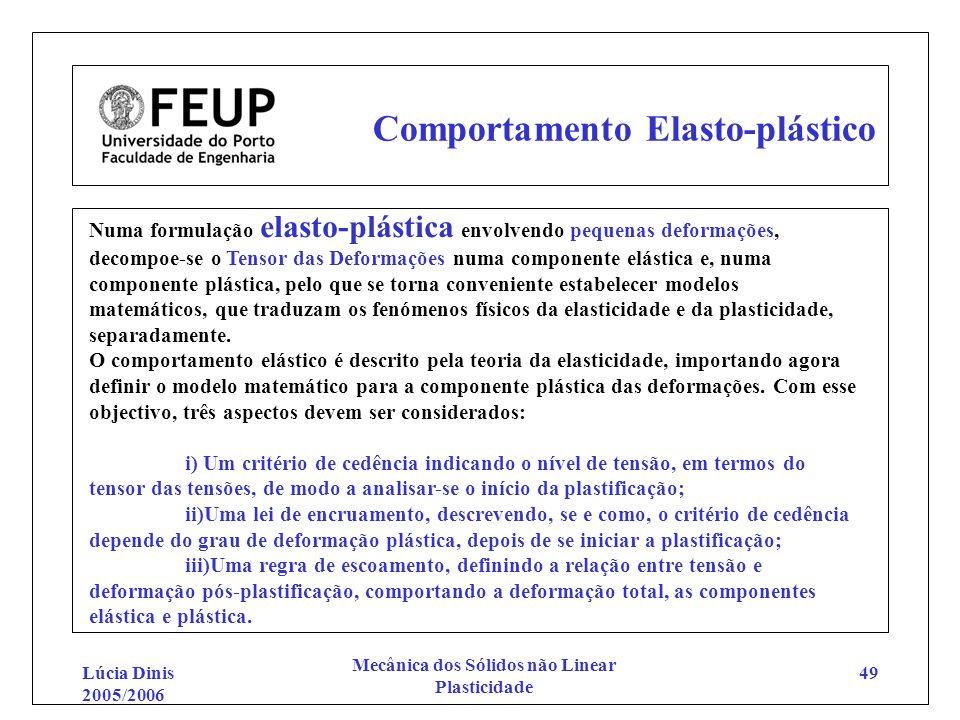 Lúcia Dinis 2005/2006 Mecânica dos Sólidos não Linear Plasticidade 49 Comportamento Elasto-plástico Numa formulação elasto-plástica envolvendo pequena
