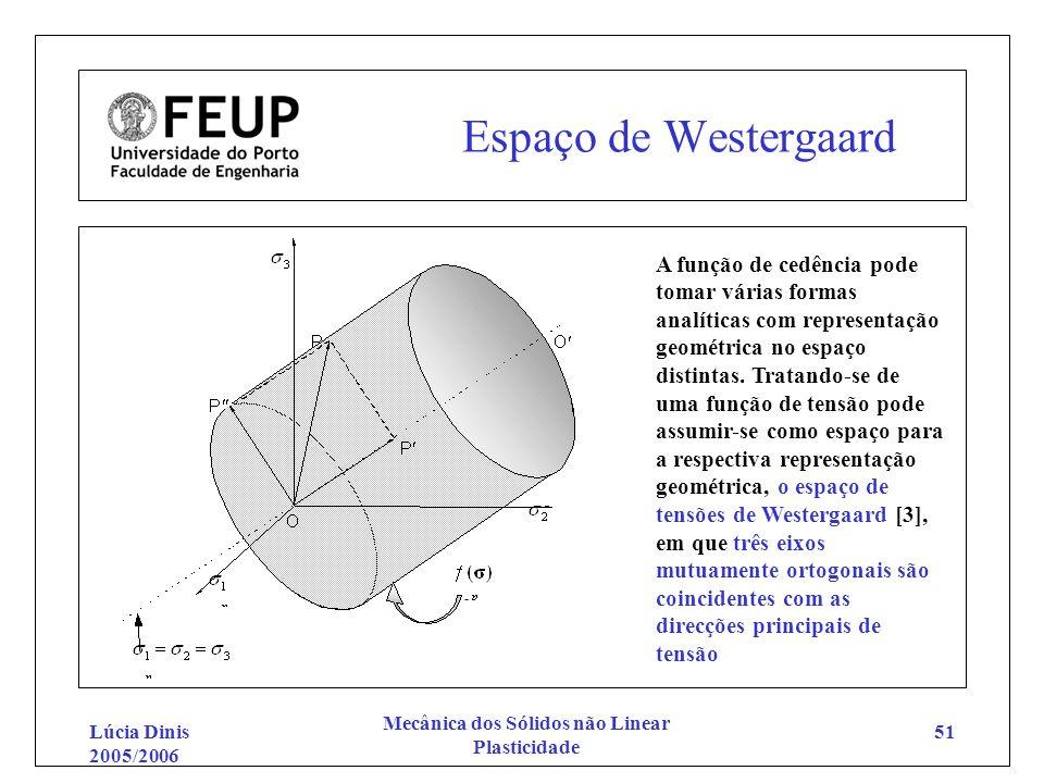 Lúcia Dinis 2005/2006 Mecânica dos Sólidos não Linear Plasticidade 51 Espaço de Westergaard A função de cedência pode tomar várias formas analíticas c
