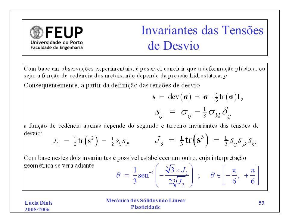 Lúcia Dinis 2005/2006 Mecânica dos Sólidos não Linear Plasticidade 53 Invariantes das Tensões de Desvio