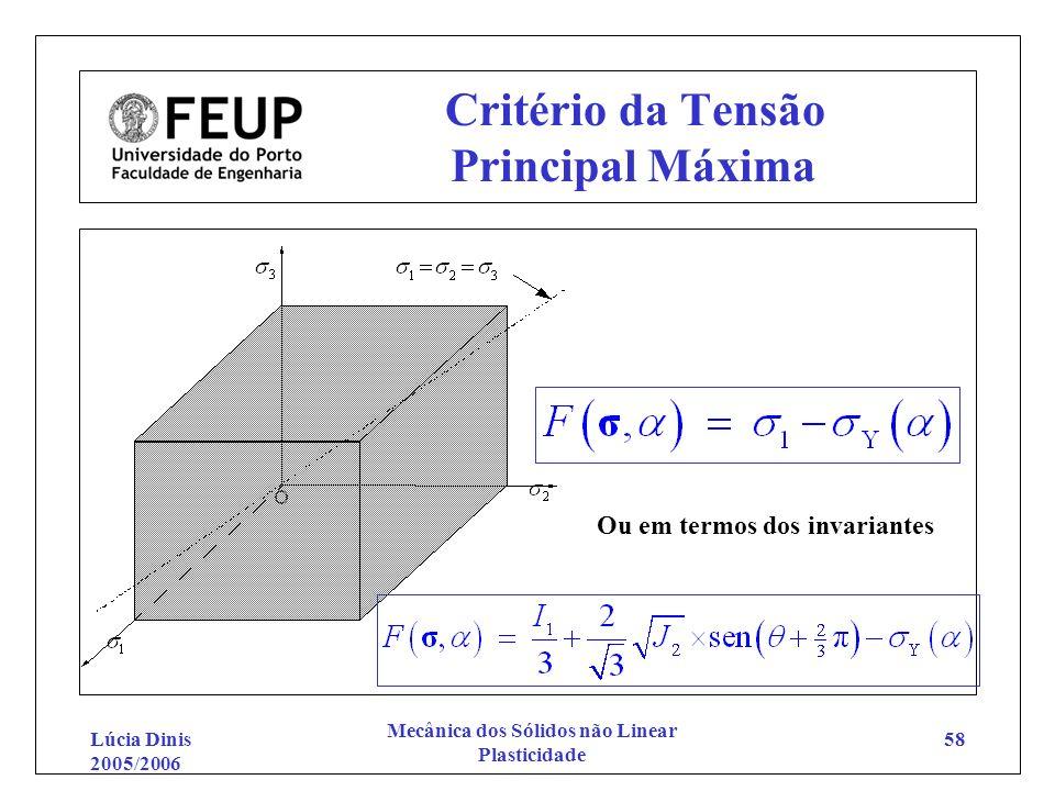 Lúcia Dinis 2005/2006 Mecânica dos Sólidos não Linear Plasticidade 58 Critério da Tensão Principal Máxima Ou em termos dos invariantes