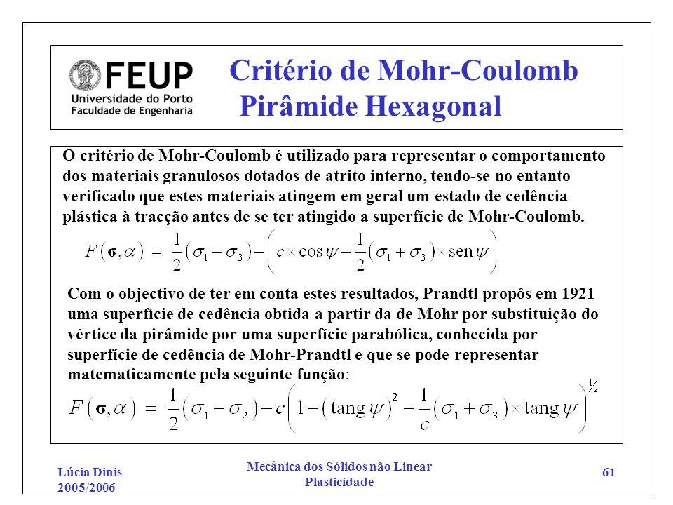 Lúcia Dinis 2005/2006 Mecânica dos Sólidos não Linear Plasticidade 61 Critério de Mohr-Coulomb Pirâmide Hexagonal O critério de Mohr-Coulomb é utiliza